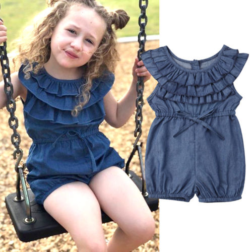 Toddler Baby Girl Jeans   Romper   Sunsuit Playsuit Kids Girls Baby Summer Princess Ruffles Denim   Rompers   Jumpsuit Outfits Clothes