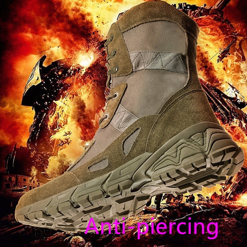 Man Outdoor Military Hiking Desert Genuine Leather Tactic Boots Canvas High Help Guy Work New Pattern