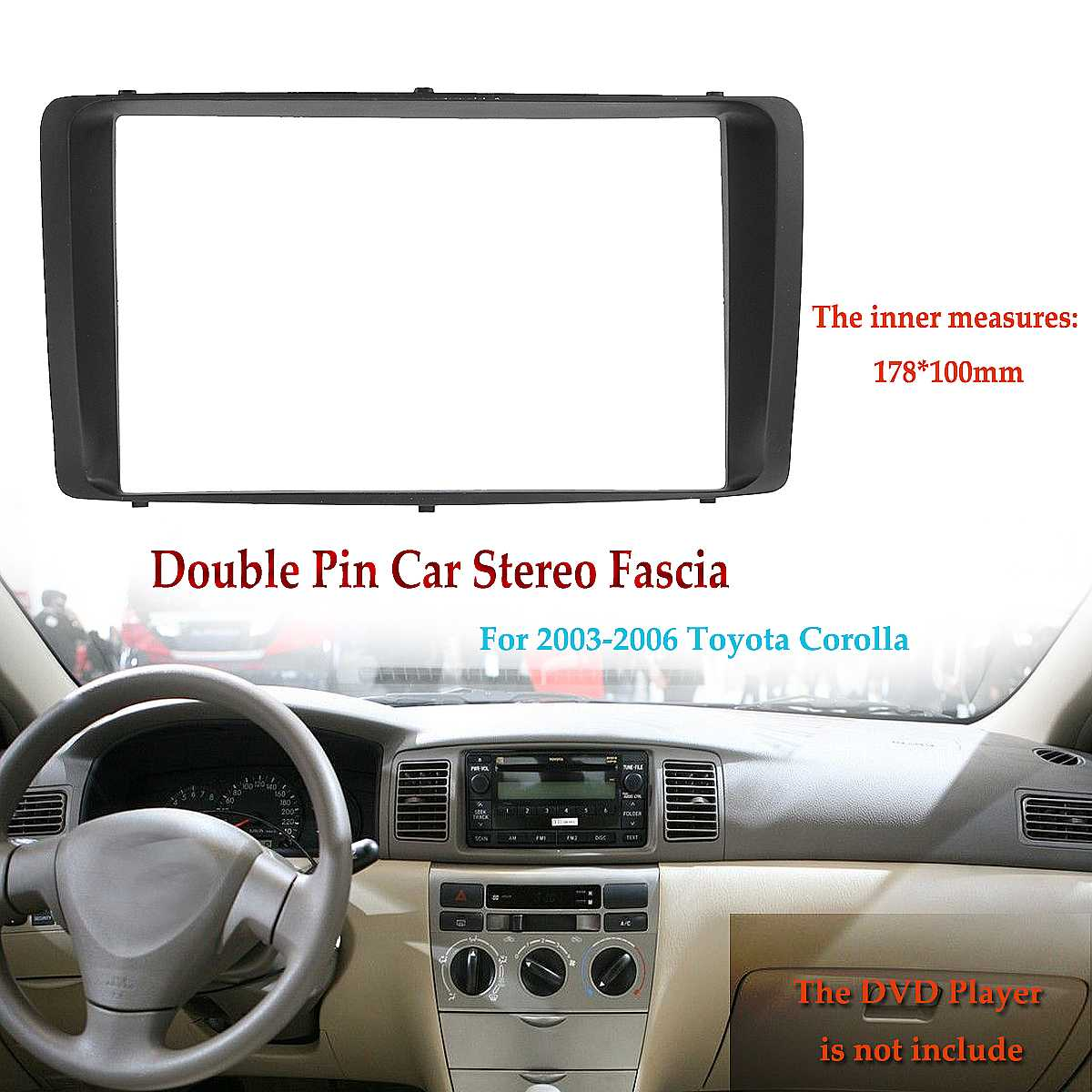2 Din Car Stereo Radio Audio DVD CD Fascia Plate Panel Frame Dashboard Replacement for Toyota Corolla 2003 2004 2005 2006