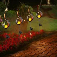1.2V Solar Flame Light Waterproof Outdoor Garden Lawn Landscape Decoration Lamp Warm white with Type A/B