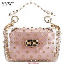 36365e2c8da5e Różowe pcv torebka typu jelly bag torebka kobiety nit Studded różnokolorowy  wzór w robieniu na drutach