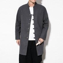4325 Весенняя традиционная китайская льняная траншея пальто винтажный воротник-стойка одноцветная однобортная ветровка Плюс Размер M-5XL