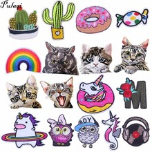 Pulaqi Rainbow Unicorn Patch Badge Iron On Cartoon Patches Cheap Cute Sewing Embroidered For Kids Clothes Appliques H
