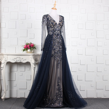 SSYFashion New Long Sleeve Evening Dress Floor-length