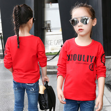 Children's clothing cotton long-sleeved shirt new spring and autumn letters round neck girls T-shirt