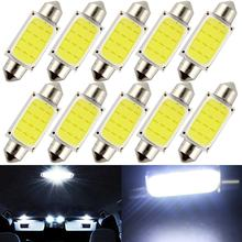 10 pçs branco cob c5w carro auto festão cúpula interior luzes led lâmpada mapa telhado lâmpada de leitura dc12v 31/36/39/42mm