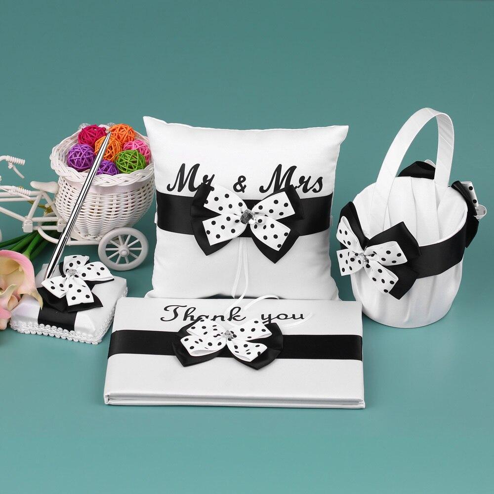 4 pièces décoration de mariage Satin fleur fille panier anneau porteur oreiller livre d'or porte-stylo ensemble avec Bowknot fête fournitures