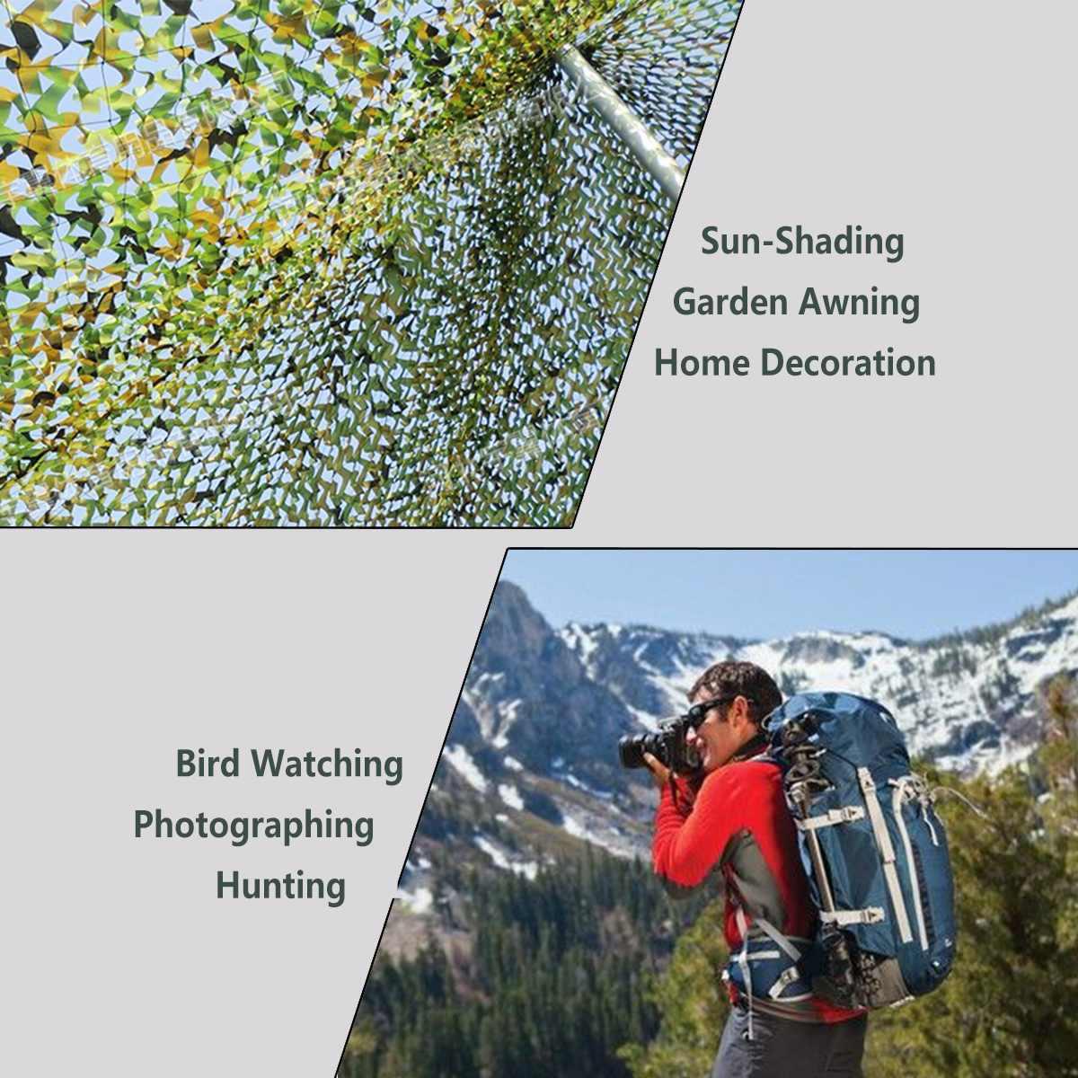 Redes de Camuflagem de caça Militar Army Woodland Camo compensação Camping Sol ShelterTent Sombra de sol abrigo