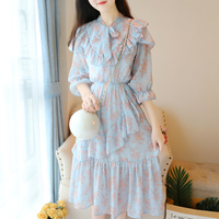 White,Blue Flowers Printed Chiffon Dress Literature Women 3/4 Sleeve Floral Print Long Dresses Ruffles Mori Girl Vestidos