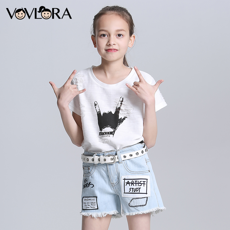 Summer Fashion Denim Girls Shorts Burr Letter Patch Kids Pants Shorts Mid Regular Children Clothes Size 9 10 11 12 13 14 Years