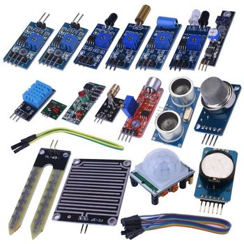 16 in 1 Modules Sensor Kit Project Super Starter Kits for Arduino UNO R3 Mega2560 Mega328 Nano Raspberry Pi 3 2 Model B K62