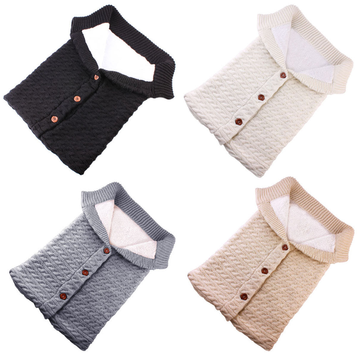 Newborn Baby Winter Warm Sleeping Bags Infant Button Knit Swaddle Wrap Swaddling Stroller Wrap Toddler Blanket Sleeping Bags 2