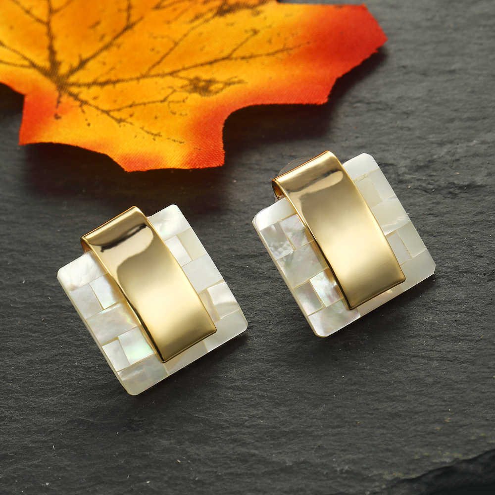 Stud Earrings for Charm Office Ladies Gold Color Fashion Geometric Square Mother of Pearl Mosaic Stud Earrings Party Wedding