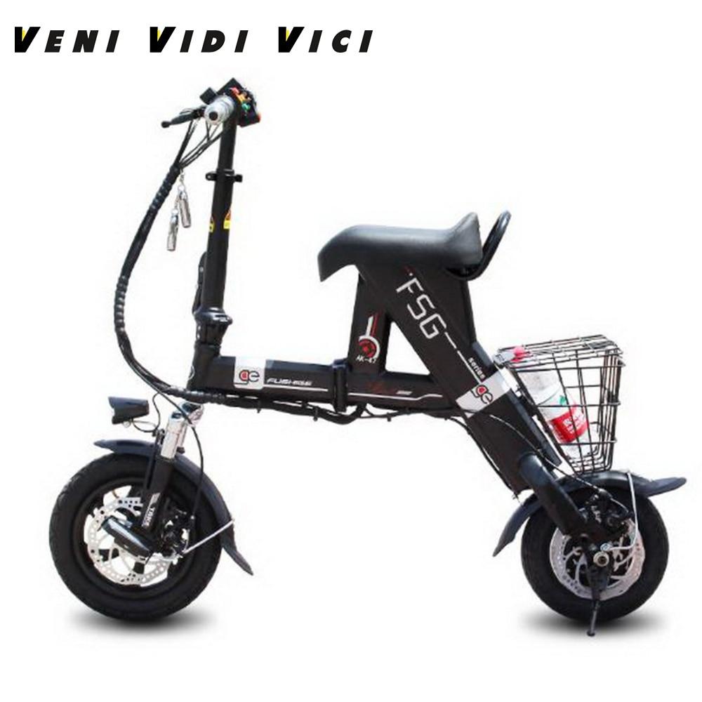 Venividivici Super light Mini electric font b bike b font with Basket folding female small electric