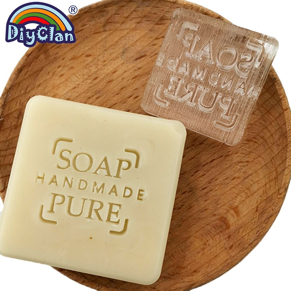 SOAP PURE Soap Making Stamp Handmade Natural Soap Stamps Transparent Acrylic Soap Chapters Custom Fait Main Savon in Stamps from Home Garden