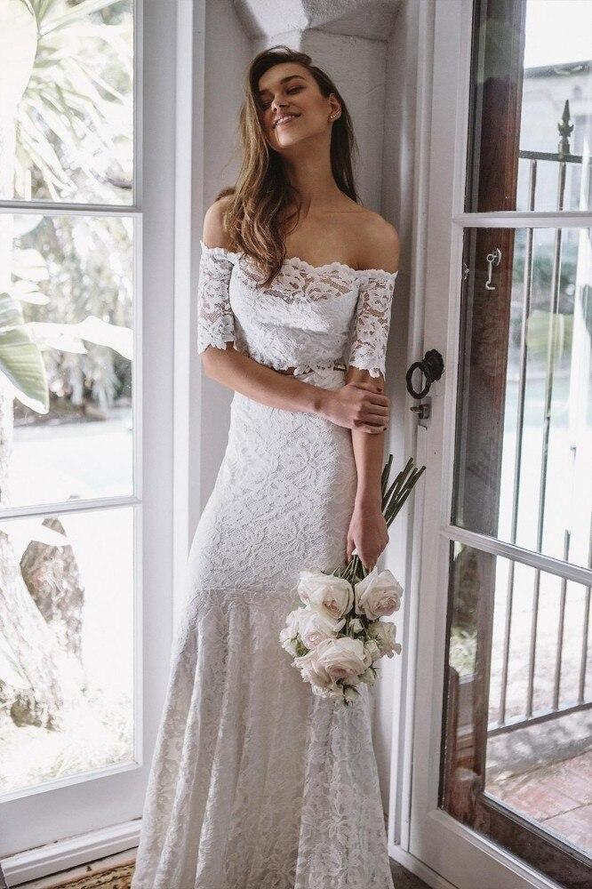 Us 89 9 30 Off Vivian S Bridal 2019 Hot Boho Crop Top Wedding Dress Y Strapless Shoulder Court Train Mermaid Reception Gown In