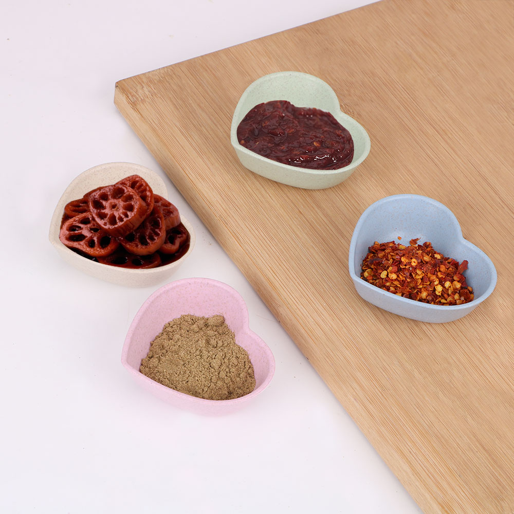 Heart Shape Sauce Dishes Wheat Straw for Soy Tomato Sauce Salt Vinegar Flavor Spices Kitchen Accessories Seasoning Dish image