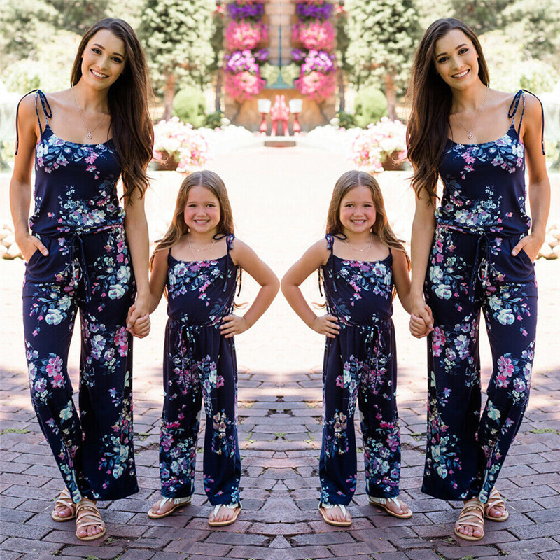 013910b279b Family Matching Outfits Mother and Daughter Mommy and Me Clothes Boho Beach  Summer Sleeveless Floral Jumpsuit Flower Romper ~ Super Deal June 2019