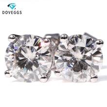 DovEggs Genuine 14K 585 White Gold 2 CTW Carat F Color Lab Grown Moissanite Diamond Earrings For Women  Screw Back