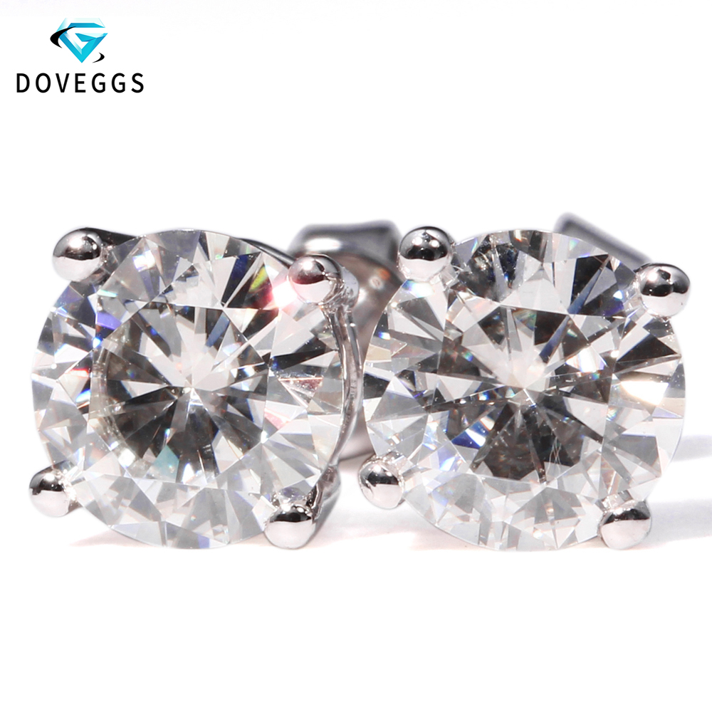 Doveggs 정품 14 k 585 화이트 골드 2 ctw 캐럿 f 컬러 랩 여성용 moissanite 다이아몬드 귀걸이 스크류 백-에서귀걸이부터 쥬얼리 및 액세서리 의  그룹 1