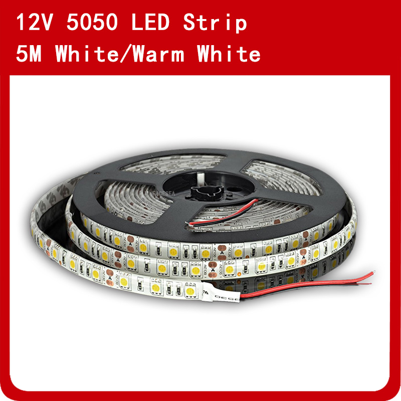 5Meter/lot <font><b>Led</b></font> <font><b>Strip</b></font> SMD 5050 DC12V <font><b>Waterproof</b></font> IP65 60pcs/m FlexibleTape Light Warm / Cool <font><b>White</b></font> for Home Kitchen Lighting image