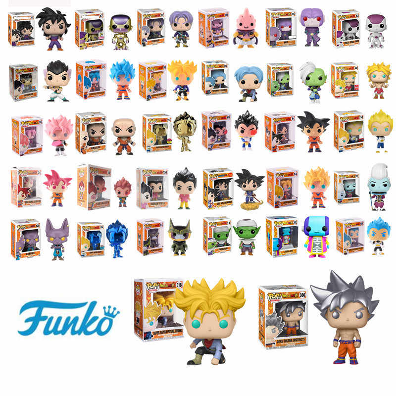 Funko pop japonês anime dragon ball goku ouro frieza troncos vegeta super saiyan modelo ação & figura collectible vinil boneca