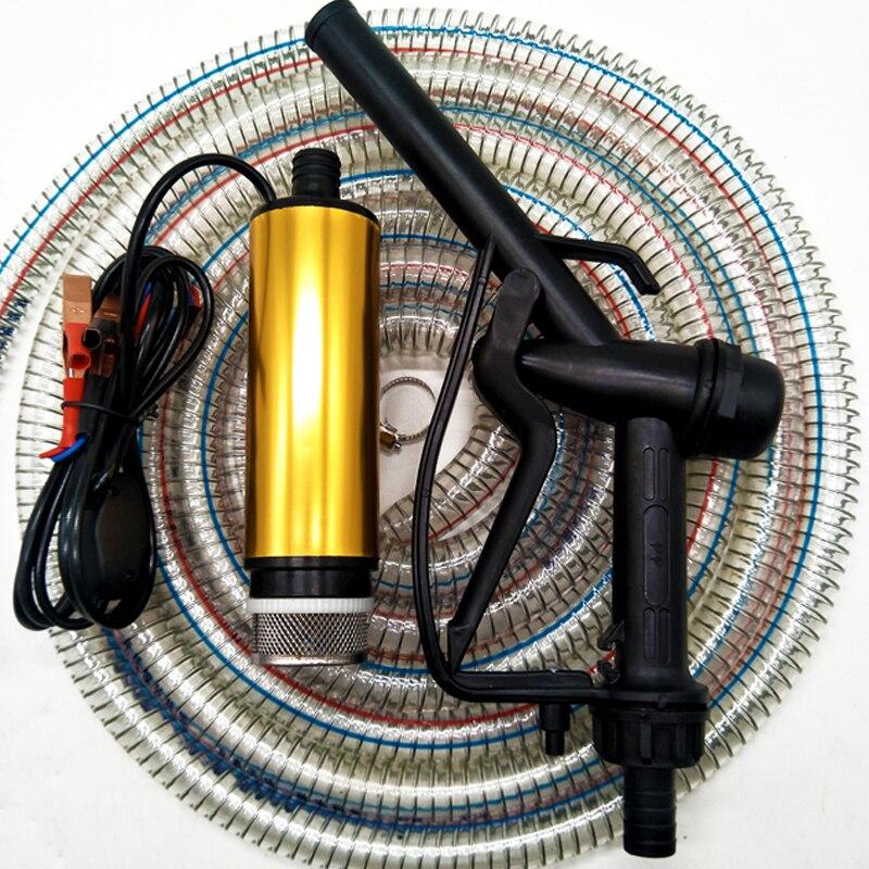 Pompe à huile Diesel 24 V Arme Du Pétrole et 5 m tuyaux en acier Électrique Petit Auto-pompe d'aspiration Pistolet pompe à huile ing Machine pompe à huile