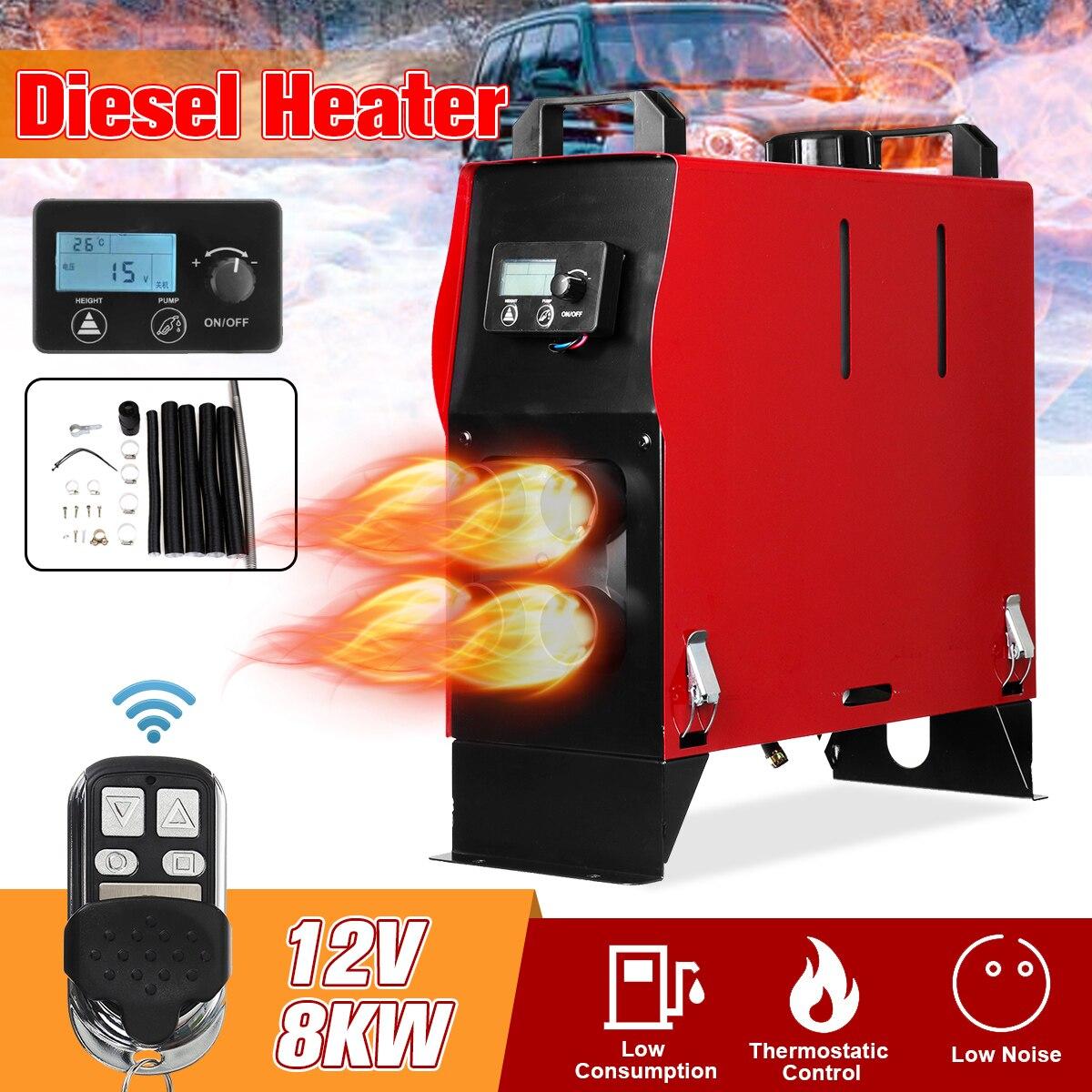8KW 12V Integração 1/4 Buracos de Ar Diesel aquecedor de estacionamento ar Aquecedor Do Carro Com Controle Remoto do Interruptor Da Tela LCD de Poupança espaço