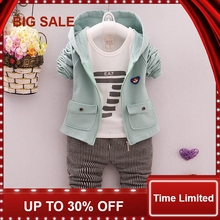 Spring Autumn Baby Girls Boys Clothes Sets Cute Infant Cotton Suits Coat+T Shirt+Pants 3 Pcs Casual Sport Child Suits 3 pcs 1 lot 2016 winter baby girls boys clothes sets children down cotton padded coat vest pants kids infant warm outdoot suits
