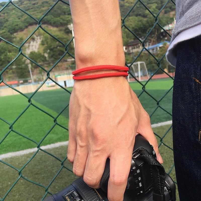 Lucky bransoletka z czerwonego sznurka dla mężczyzn kobiety Charm komunikat Handmade Rope Chain Lovers pary rodzina najlepsze prezenty biżuteria