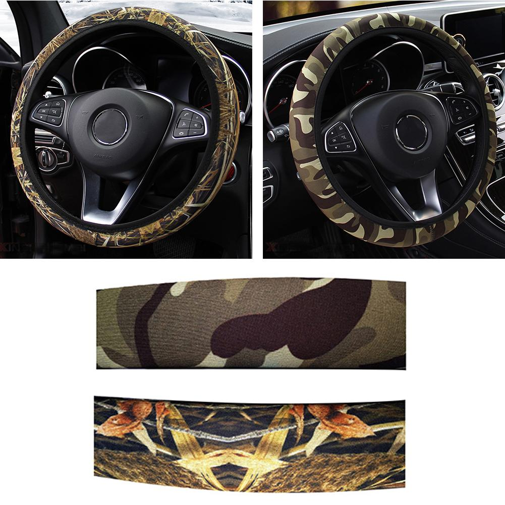 Steering Cover Interior Accessories Fit For Most Cars DIY Car Steering-wheel Cover Camouflage Anti-slip