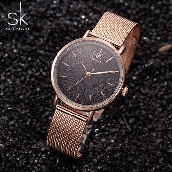 592523bc6e97 Shengke SK de la marca de lujo de las mujeres Reloj de alta calidad de oro  rosa correa de malla vestido de las mujeres Reloj Mujer relojes Reloj de  Mujer ...