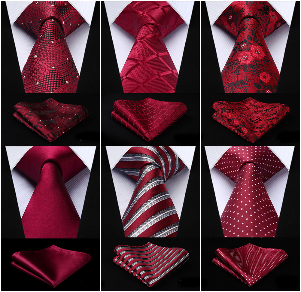 Men Fashion Necktie Burgundy Red Paisley Plaid Check Polka Dot Floral 3.4