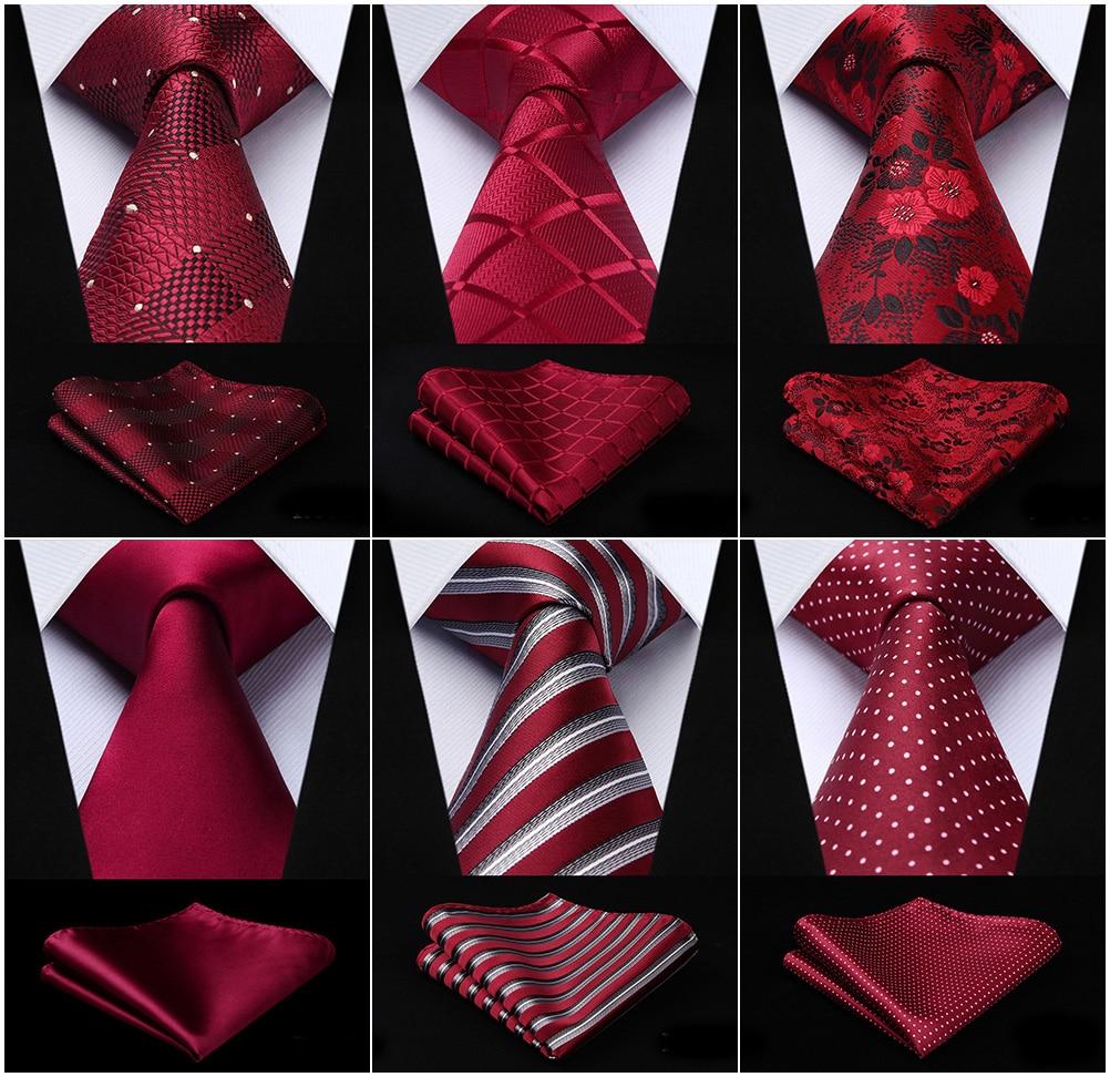 Men Fashion Necktie Burgundy Red Paisley Plaid Check Polka Dot Floral 3.4