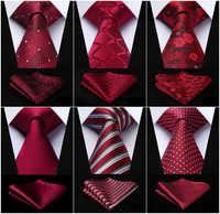 "Men Fashion Necktie Burgundy Red Paisley Plaid Check Polka Dot Floral 3.4"" Silk Party Wedding Business Tie Handkerchief Set"