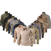 SQING Military Tactical Uniform Combat Camouflage Army Tops Men Turndown Training Militar Wear Clothing US Army Work Clothes Men