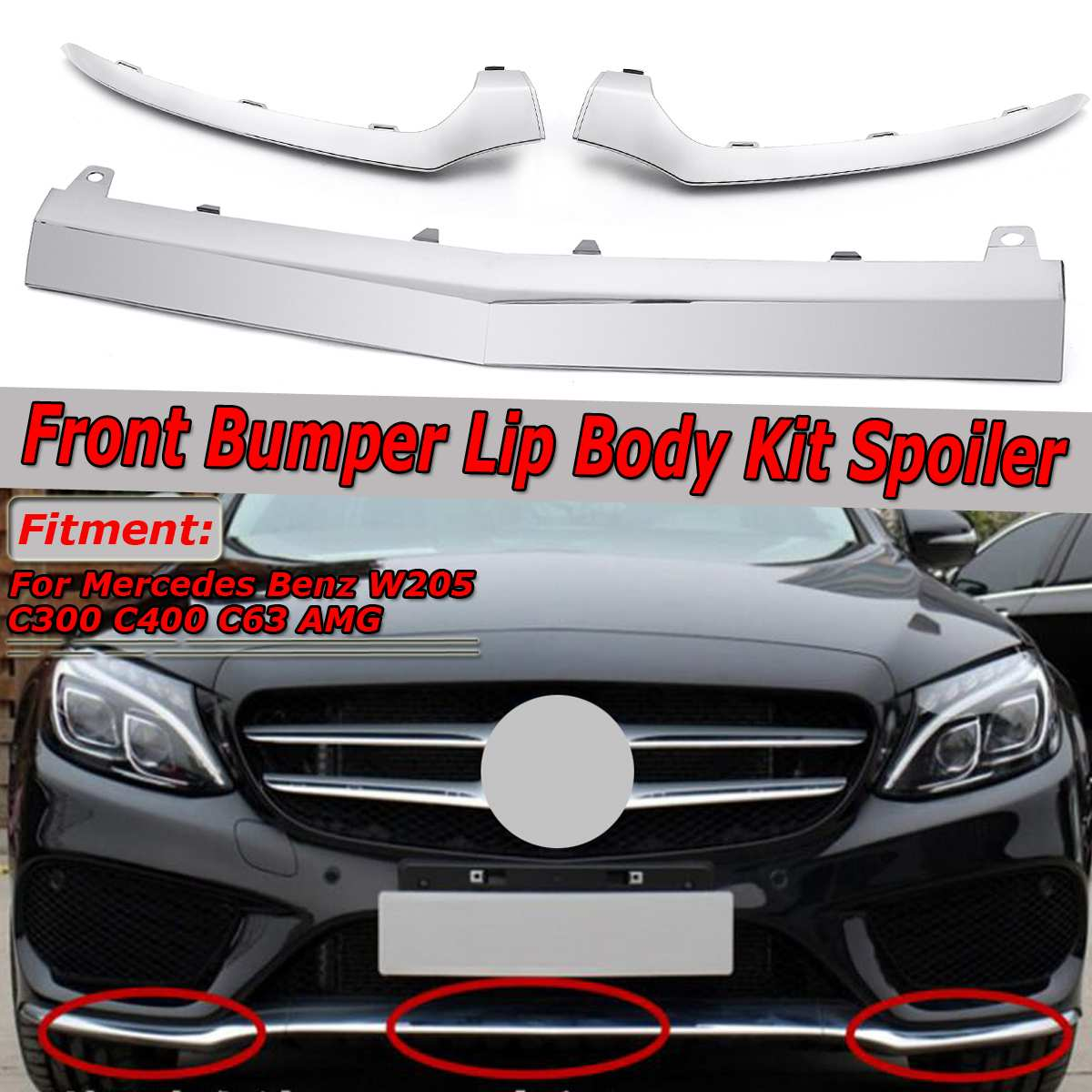 Chrome/Black Car Front Lower Bumper Lip Splitter Chrome Molding Cover Trim For Mercedes For Benz W205 C300 C400 C63 For AMG image