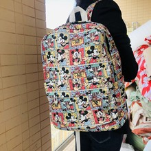 IVYYE Happy Mickey Fashion Canvas Backpacks Rucksacks Cartoon School Backpack Casual student Bags travel Knapsack Unisex New(China)
