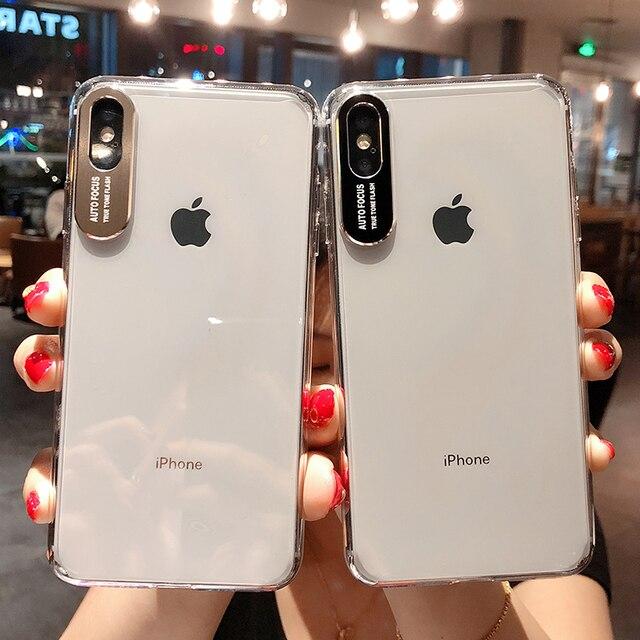 מתכת עדשת אותיות מקרי מגן לאייפון 11 2019 XS Max XR XS 6 6S 7 8 בתוספת מלא גוף רך TPU שקוף טלפון חזרה כיסוי