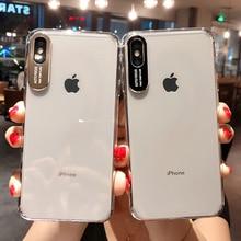 Metall Objektiv Buchstaben Cases Schutz Für iPhone 11 2019 XS Max XR XS 6 6S 7 8 Plus Volle körper Weichen TPU Transparent Telefon Zurück Abdeckung