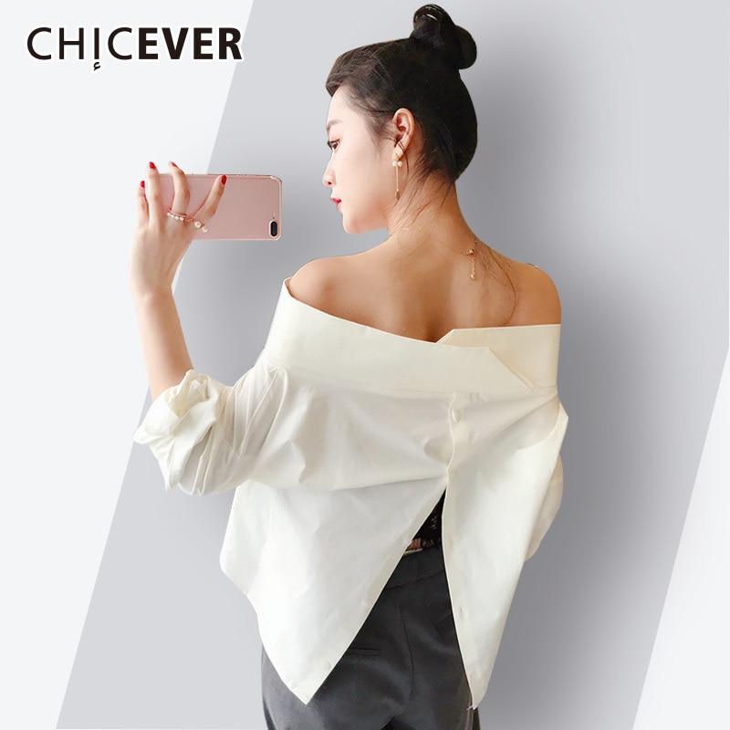 CHICEVER 2018 Summer Sexy Whiet Blouse Shirt Women Tops Slash Neck Batwing Sleeve Back Split Ladies Blouses Korean Fashion Tide