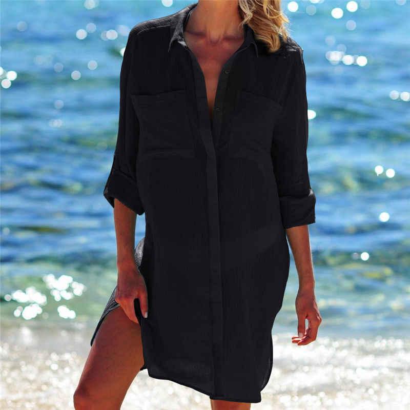 Шифоновое пляжное платье Saida de Praia, большие размеры 2019, купальный костюм, кафтан бикини, накидка на купальный костюм, туники