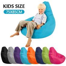 Kids Bean Bag Sofa Chair Cover Lounger Bank Poef Zetel Woonkamer Meubels Zonder Vulmiddel Zitzak Bed Poef Bladerdeeg Couch tatami(China)