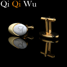 18K Gold Plated Personalized Cufflinks Wedding Gifts for Groom Custom Engraved Cuff links Name Initials Man Jewelry Acc With Box