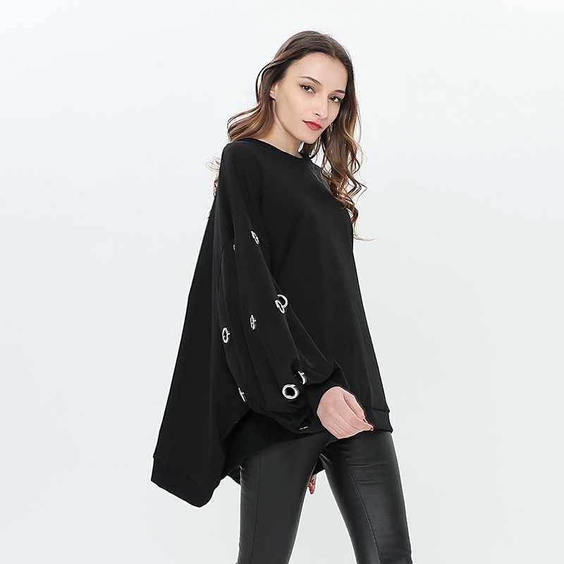 TWOTWINSTYLE Hollow Out Pullover Top mujer cuello redondo Batwing manga larga sudadera de gran tamaño para mujer 2019 primavera Casual moda