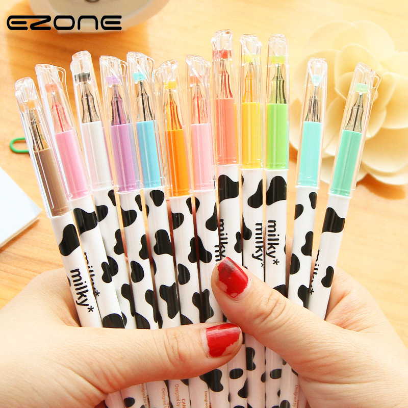 EZONE 1PC Candy Color Gel Pen For Children Drawing 12 Colors Milky Cow Diamond Head Pens DIY Painting School Office Art Supply