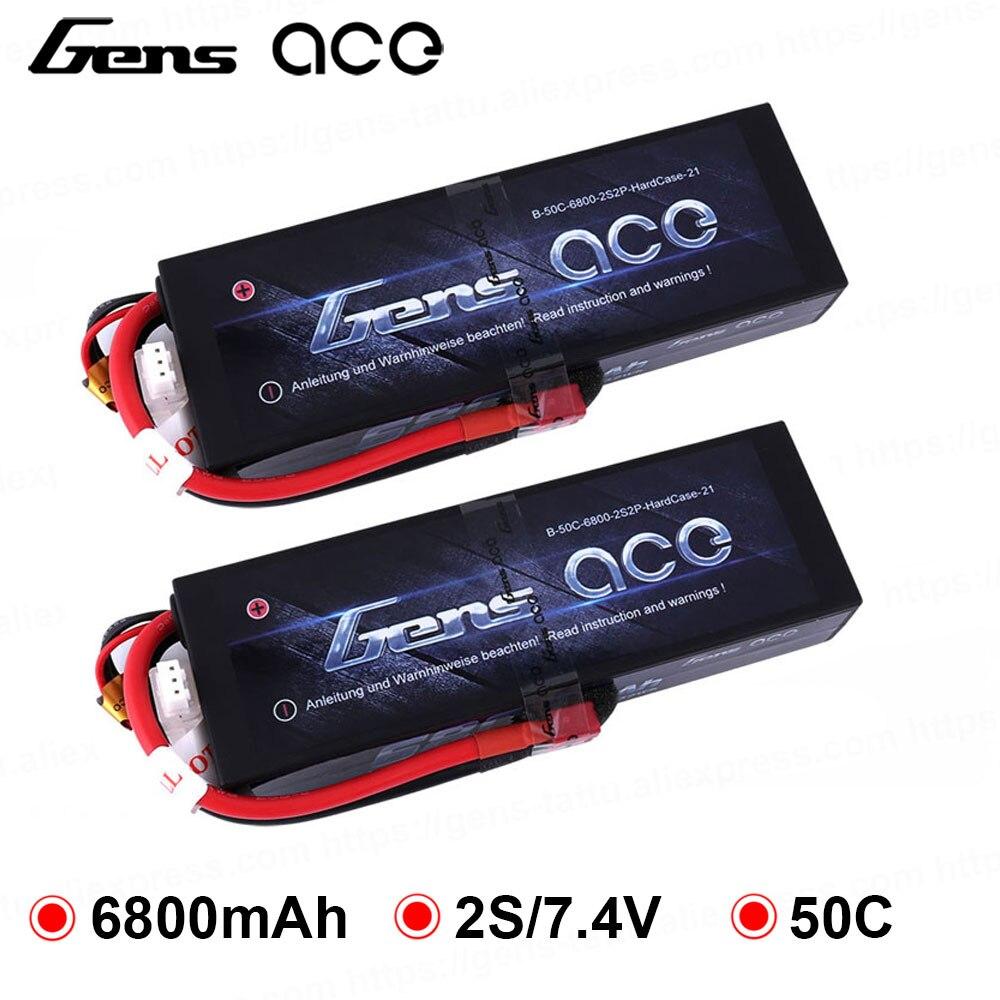 2 pièces Gens ace Lipo batterie 2 S 6500 mAh 6800 mAh Lipo 7.4 V batterie Deans Plug 50C 1/8 échelle pour Traxxas Slash 4x4 RC voiture