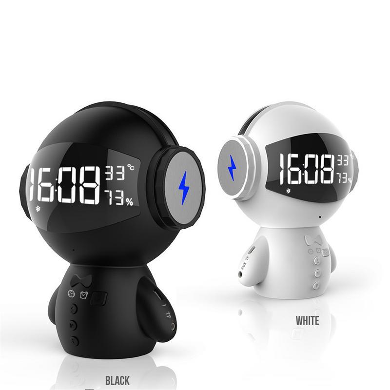 Nouveau dessin animé forme horloge Bluetooth haut-parleur Robot II multi-fonctionnel batterie externe Mini Microphone carte Insert haut-parleur pour les enfants