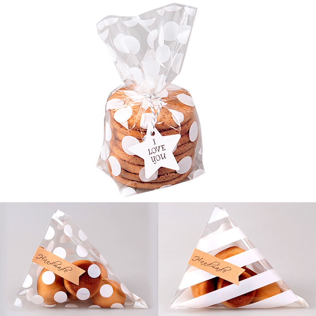 100PCS Cute Flat Cellophane Treat Bag Cookie Candy Gift Bags for Candy Biscuits Snack Baking Package Event Party Decor Supplies image