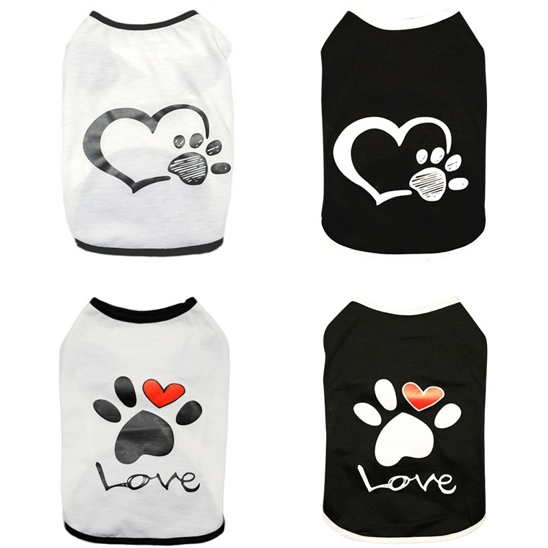 Vest Small Pet Shirt Cat Dog Clothes Paw Print Heart Love Design Cotton Dogs T Shirt Pet Puppy Summer Apparel Clothes Dog Coat